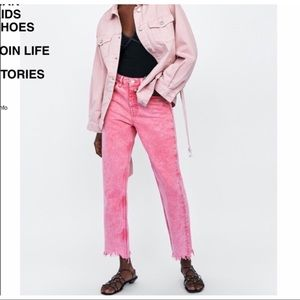 Zara Jeans - SALE!!Zara Pink Acid Wash Mom Jeans With Frayed